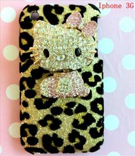 Bling DELUXE 3D Hello Kitty Leopard Back Case Cover for iPhone 3G 3GS