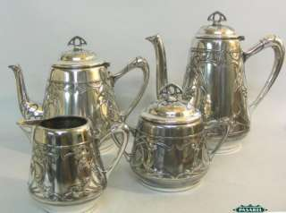 Art Nouveau WMF Silver 4pcs Tea Coffee Set Germany 1900
