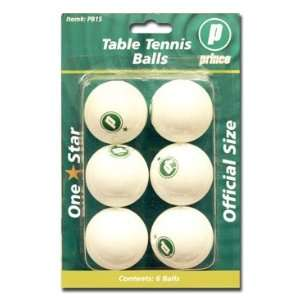 Prince White One Star Table Tennis Balls   6 Pack Sports