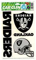 NEW OAKLAND RAIDERS REUSABLE WINDOW CLING SET