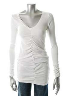 FAMOUS CATALOG Knit Top White Ribbed Ruched Misses Shirt L