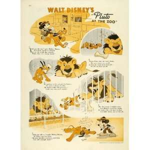 Pluto at the Zoo Walt Disney Mickey Mouse   Original Color Print Home
