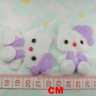 60 Purple Hello Kitty Cat Felt Sewing Applique Craft