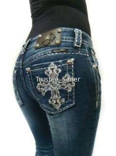 MISS ME Crystals Silver Big Pick Stitch Dark Blue Jeans