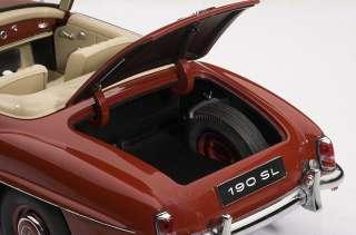 AUTOART 76116 118 SCALE MERCEDES BENZ 190SL RED DIECAST MODEL CAR