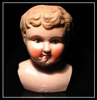 ANTIQUE Early CELLULOID Hand PAINTED DOLL HEAD 1900s |
