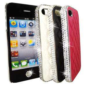 White iPhone 4 4S Czech Crystal Bling Quilted Leather Hard Case Cover