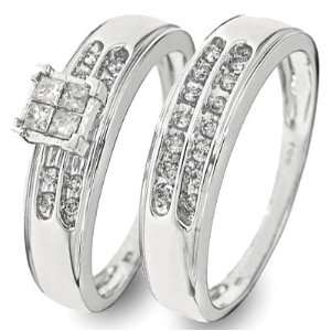 Cut Diamond Womens Bridal Wedding Ring Set 10K White Gold   Two Rings
