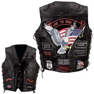 Bikers USA   Veste gilet cuir de Buffle patches brodes Live to Ride