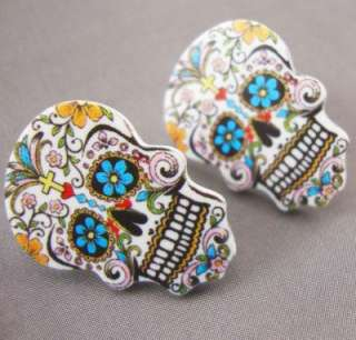 Sugar Skull Day of the Dead Tattoo Stud Earrings Kitsch Rockabilly