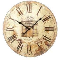 23 Round Wood Wall Clock Antique Details PARIS *NIB