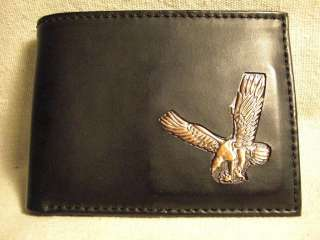 Mens Black Leather Bifold Wallet w/ Metal Ornament of Eagle
