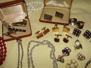 Huge Estate jewelry lot 130+ earring necklace signed stones cufflinks