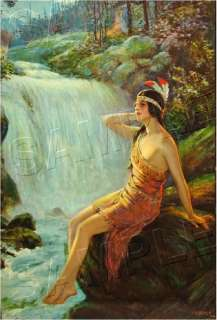 INDIAN MAIDEN *CANVAS* Non Native American ART   LARGE