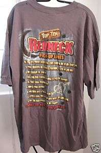Buck Wear Shirt Redneck PICKUP LINES Cotton T Shirt XL