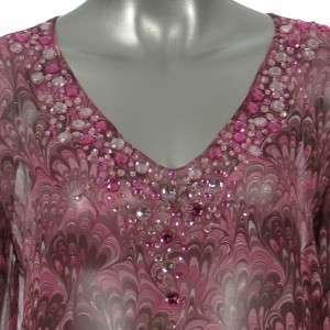 Sutton Studio Womens Chiffon Pink Print Bead Tunic Top