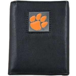 Clemson Tigers Black Tri Fold Leather Executive Wallet