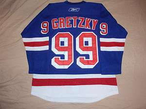 WAYNE GRETZKY #99 NEW YORK RANGERS BLUE THROWBACK JERSEY SIZE ADULT
