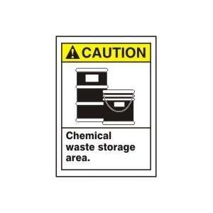 CAUTION CHEMICAL WASTE STORAGE AREA (W/GRAPHIC) 14 x 10