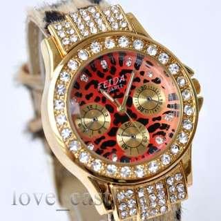 New Woman Luxury Crystal Quartz Lady Leather Watch 09