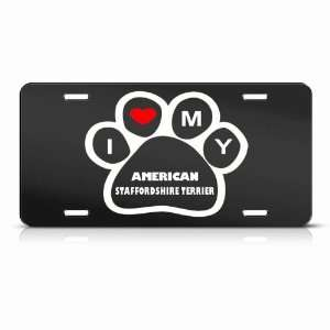 American Staffordshire Terrier Dog Dogs Animal Metal License Plate