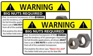 Funny YAMAHA BIG NUTS Warning Sticker Decal Graphic