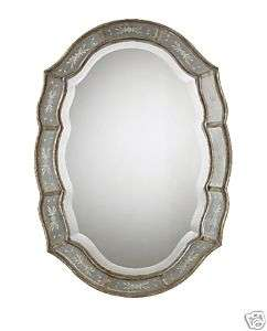 Scalloped Antique Gold Leaf Etched Beveled Wall Mirror