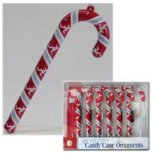 Alabama Crimson Tide Candy Cane Ornaments (NEW) 6 Pack Christmas