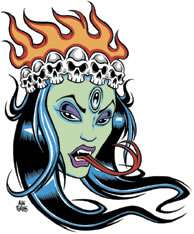 Green Kali Sticker Decal Poster Artist Alan Forbes AF22