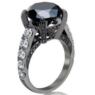 10.01 Carat Black Diamond Engagement Ring Vintage Style 14K Black Gold