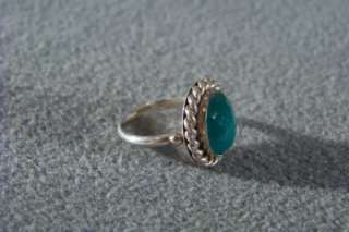 ANTIQUE STERLING SILVER MODERNISTIC OVAL EMERALD RING 6