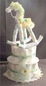 Rocking Horse Baby Shower Gift Diaper Cake Centerpiece