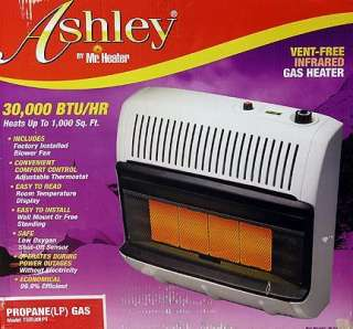 30K VENT FREE INFRA RED PROPANE WALL SPACE HEATER ASHLY