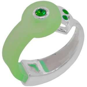 GREEN CZ Bioplast Silver Heart Infusion Band Ring Jewelry