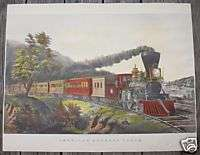 large folio Currier & Ives print American Express Train