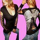 DEMI LOON DIY Sexy L/S Tattoo Angel Wings Goth Destroye