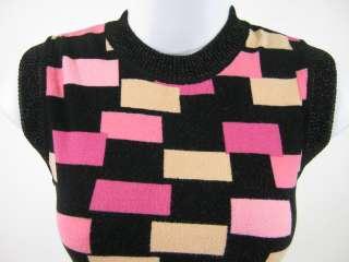 ANNA MOLINARI Black Pink Sleeveless Shirt Top Sz S