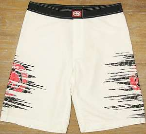 ECKO UNLTD MMA Ripped Mens White Poly Fight/Swim/Surf/Board Shorts