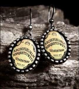 Ouija Board Vintage Horror Haunted Halloween Antique Silver Earrings