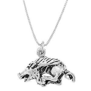 Sterling Silver Running Razorback Boar Hog Necklace: Jewelry