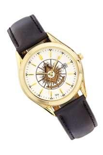 Mens Caravelle Gold Plated Freemason Masonic Past Master Watch