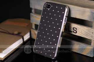 Black Luxury Bling Crystals Rhinestones Hard Case Cover For iPhone 4