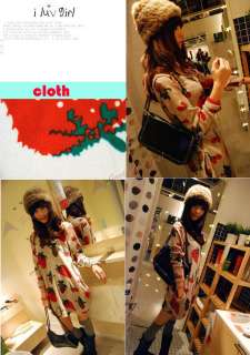 Women Sweater Fashion Strawberry Fruit Design Cute Round Neck Loose
