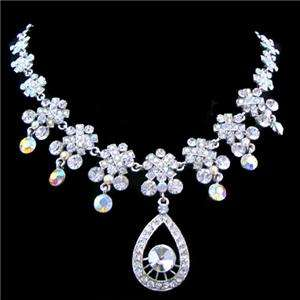 Bridal Drop Pure Austrian Rhinestone Crystal Necklace Earring Set