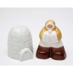 Northern Eskimo And Ice Igloo Matching Salt And Pepper Shakers: