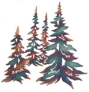 PINE TREES SCULPTURE METAL ART WALL HANGING HOME DECOR