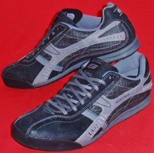 NEW Mens SKECHERS Ascoli Marche Gray Leather Casual Sneakers Shoes