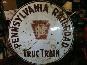 PRR PENNSYLVANIA RAILROAD TRUC TRAIN SIGN PORCELAIN ANTIQUE ORIGINAL