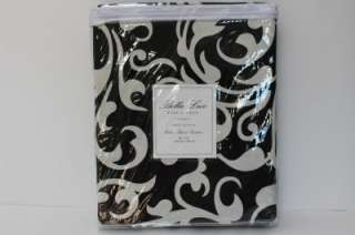 BELLA LUX SCROLL SHOWER CURTAIN   BLACK/CREAM