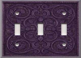 Light Switch Plate Cover   Wall Decor   French Pattern   Purple